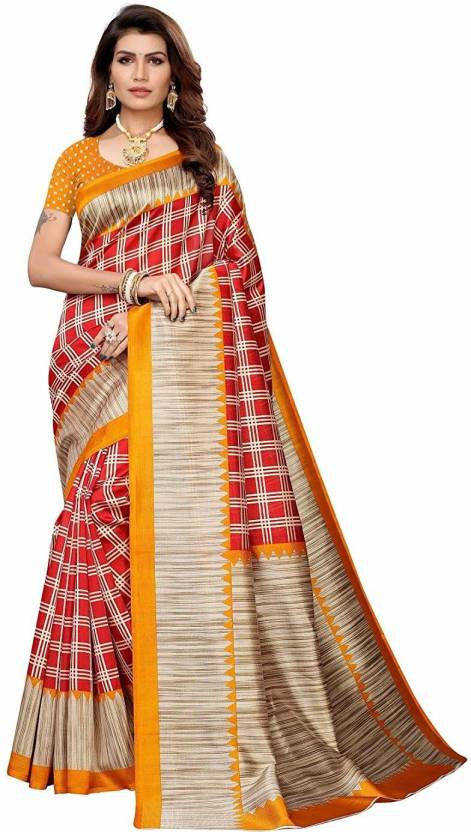 A to z-cart-women's-art-silk-printed-saree (duble-cheks-yellow-yellow-free-size)