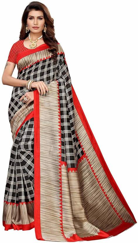 A to z-cart-women's-art-silk-printed-saree ( duble-cheks-red-red-free-size )
