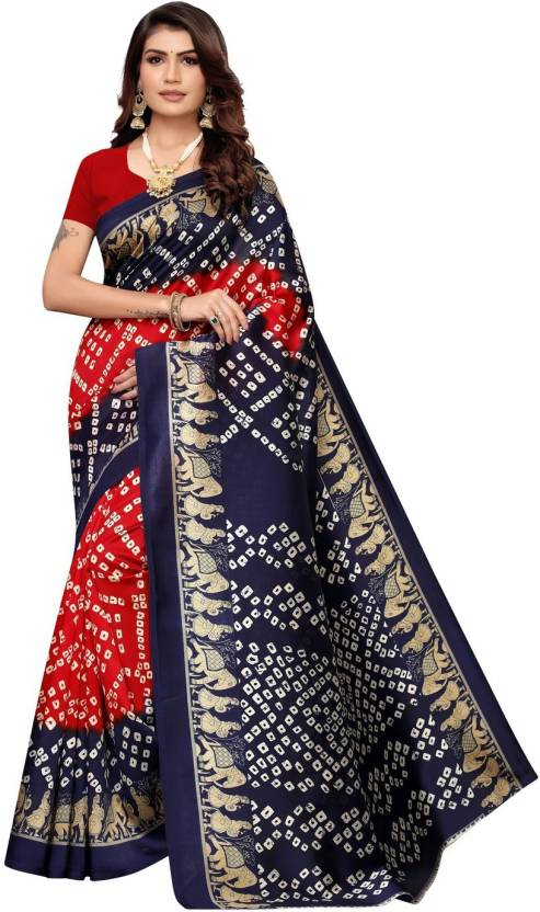 A to z-cart-women's-art-silk-printed-saree-bandhani-hathi-navy-red-red-free-size