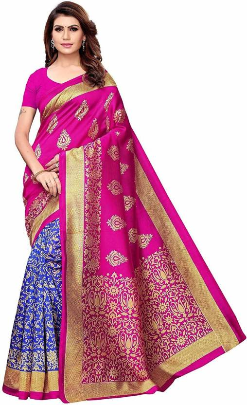 A to z-cart-women's-art-silk-printed-saree- ( half-butta-pink-blue-pink-free-size )