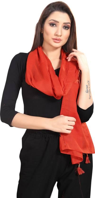 Drape Up Solid Polyester Viscose Blend Women Stole