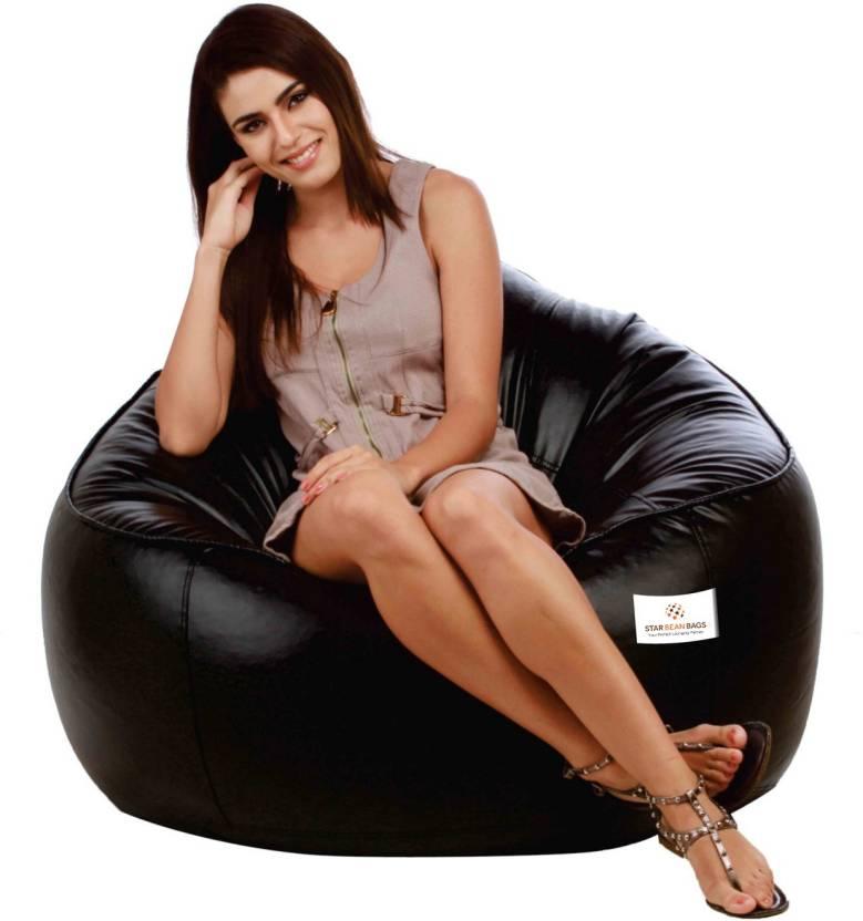 Star XXXL Muddha Bean Bag Sofa With Bean Filling Black