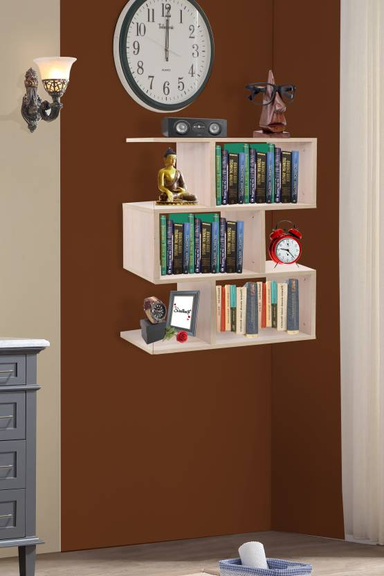 Klaxon Engineered Wood Open Book Shelf Finish Color   Beige