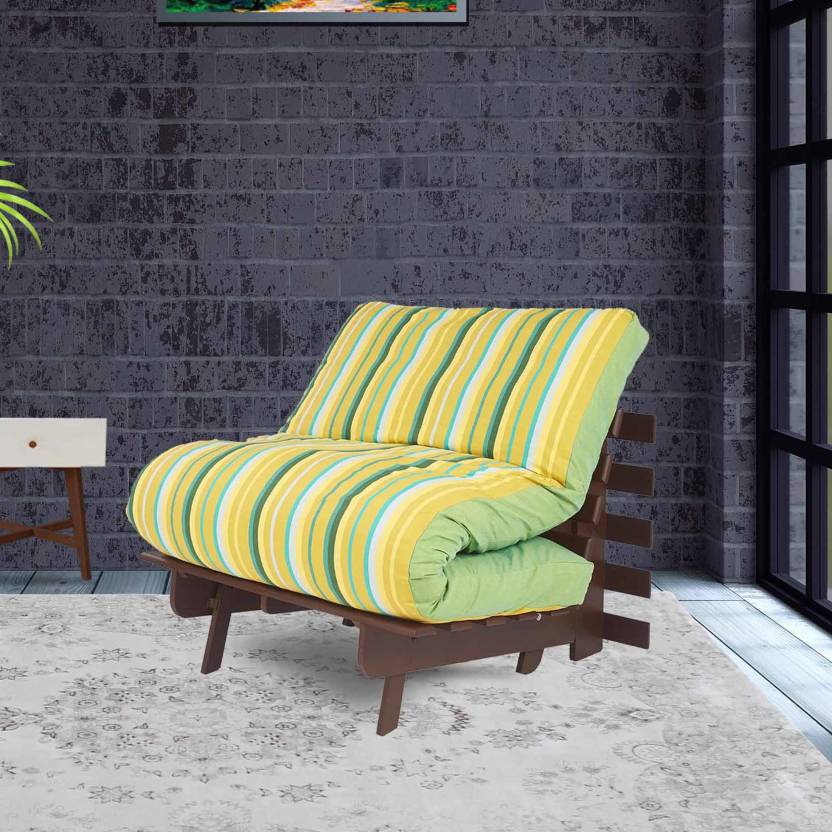 ARRA Sofa cum bed Single Engineered Wood Futon Finish Color   Green Lines Mechanism Type   Fold Out
