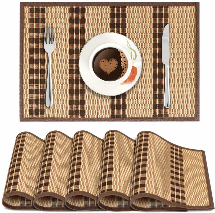 HOKIPO Rectangular Pack of 6 Table Placemat Multicolor, Natural Bamboo