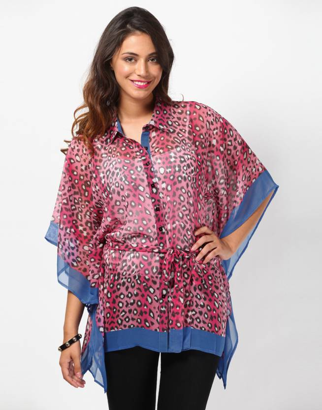 42d031c035ac Love From India Animal Print Georgette Women s Kaftan - Buy Pink Love From  India Animal Print Georgette Women s Kaftan Online at Best Prices in India  ...