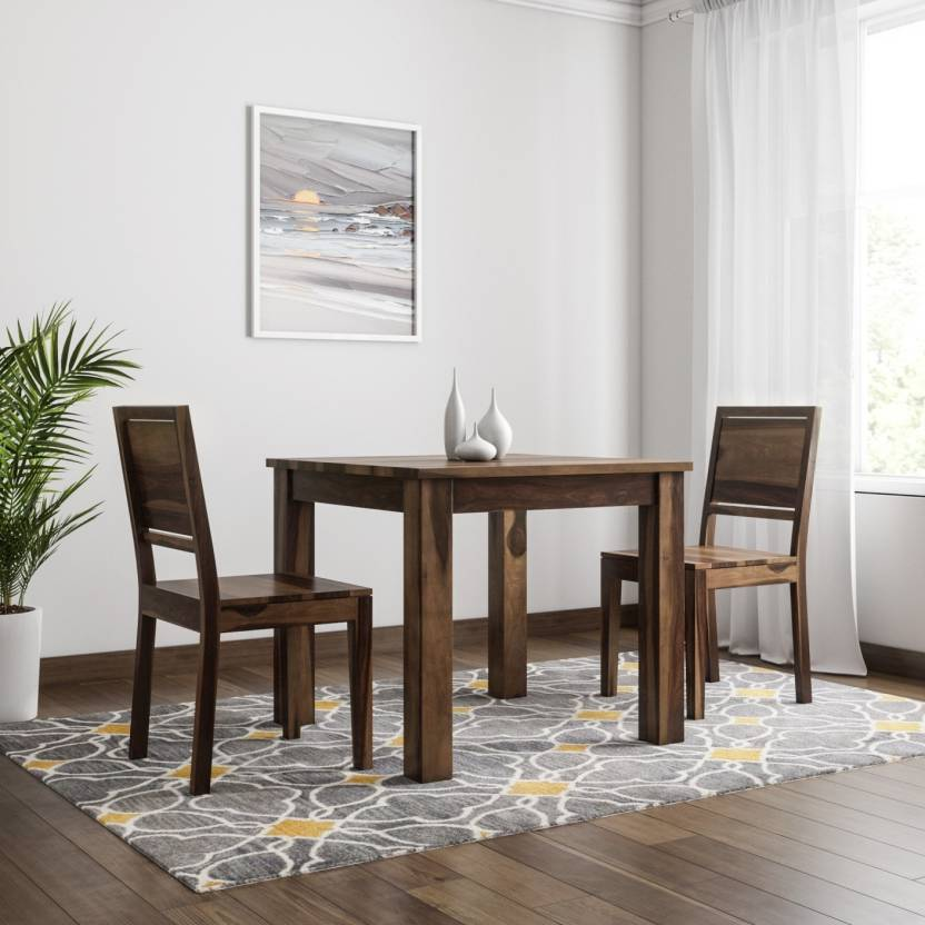 CROZZINE Solid Wood 2 Seater Dining Set Finish Color   Brown