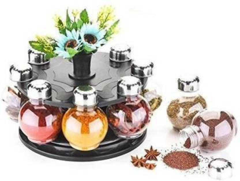 Godson Metallic Siver Finish Revolving Spice Rack 8 Piece Condiment Set 8 Piece Spice Set Plastic