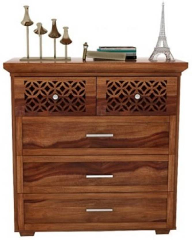 KM Decor Solid Wood Free Standing Chest of Drawers Finish Color   Natural
