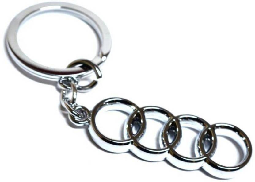 DREAMHUB Imported AUDI Chrome Plated Full Metal Car Logo Keychain - Audi keychain