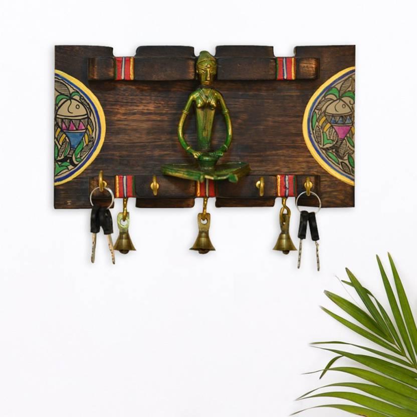 Elegant Dhokra & Warli In Mango Wooden Key Holder
