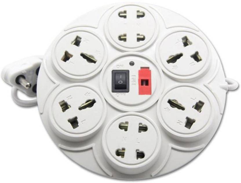 Stylopunk Multi Colour 8 in 1 Mini Power Strip Extension cord with ON / OFF switch and indicator 2 Meter lengthy wire, Socket + 4 A Three Pin Socket 8