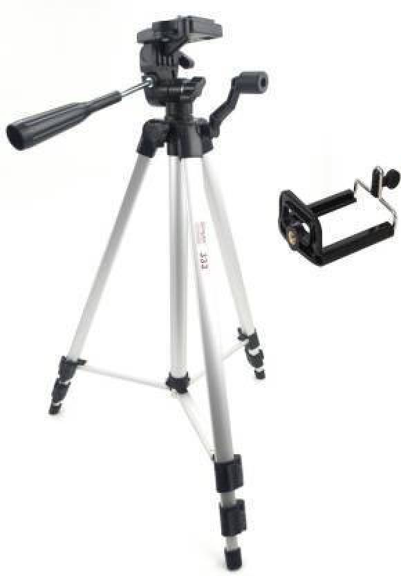 Simpex 333 Sver Solid Tripod With Mobile Clip Tripod Silver, Supports Up to 3000 g