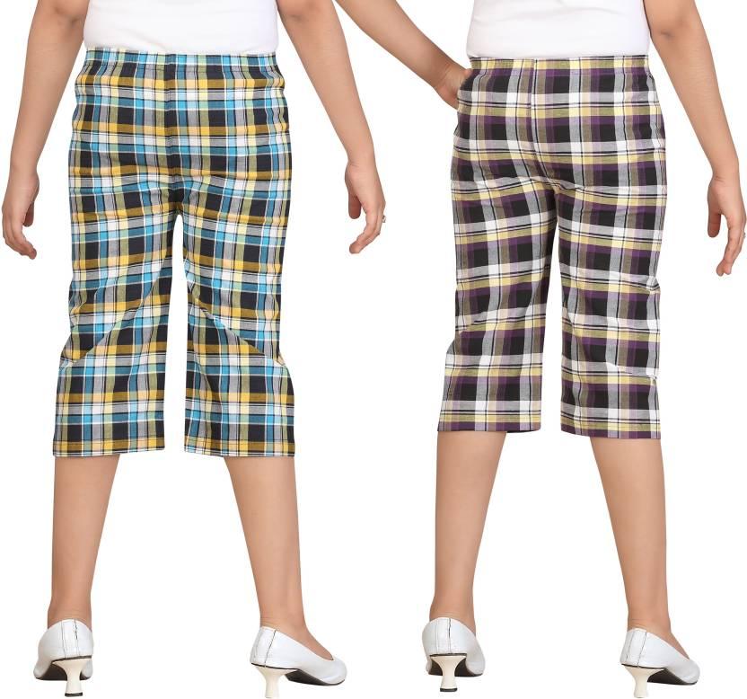 Sini Mini Capri For Girls Checkered(Multicolor)