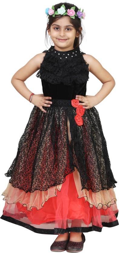 Crazeis Girl's Midi/Knee Length Party Dress(Black, Sleeveless)