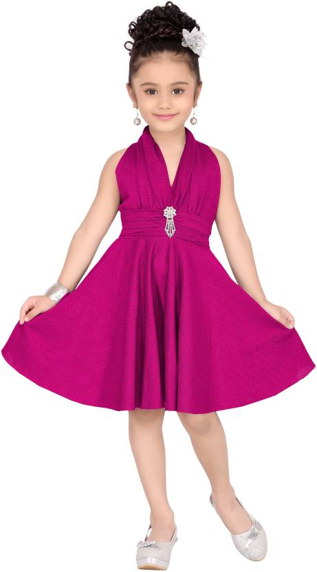 Aarika Girls Midi/Knee Length Party Dress  (Pink, Sleeveless)