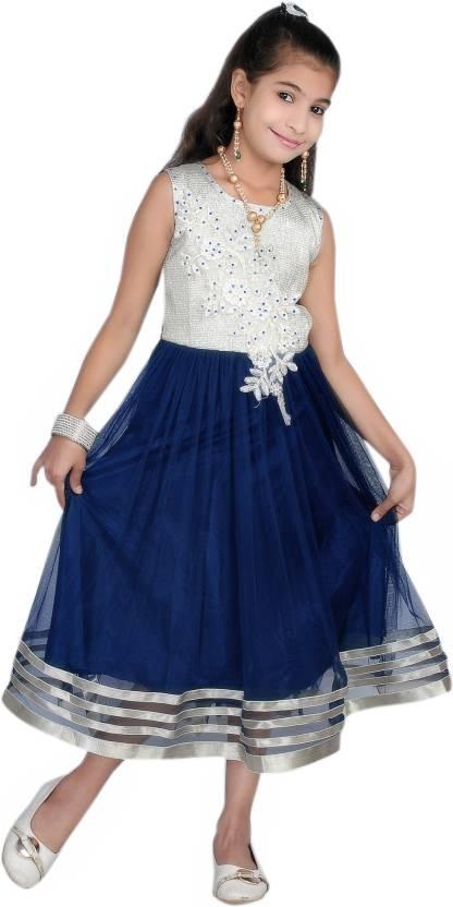 7119dbced AD   AV Girls Midi Knee Length Party Dress Price in India - Buy AD ...