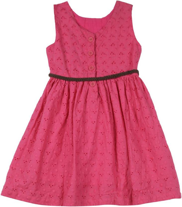 612 League Girls Maxi/Full Length Casual Dress  (Pink, Sleeveless)