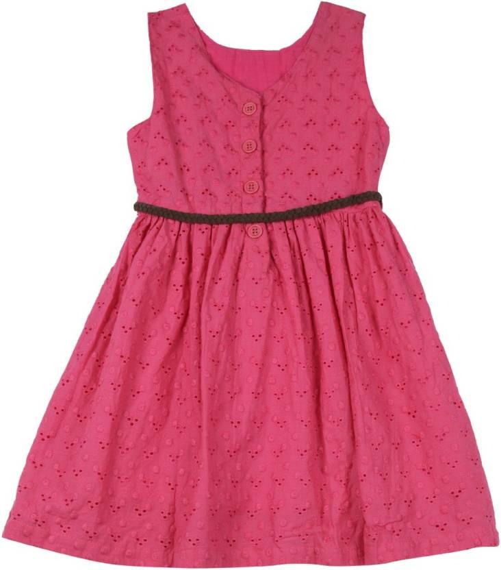 612 League Girls Maxi/Full Length Casual Dress(Pink, Sleeveless)