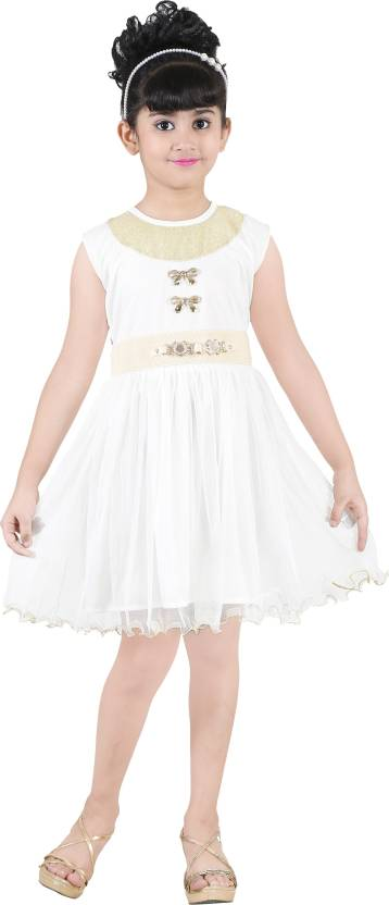 FTC Bazar Girls Midi/Knee Length Party Dress  (White, Sleeveless)