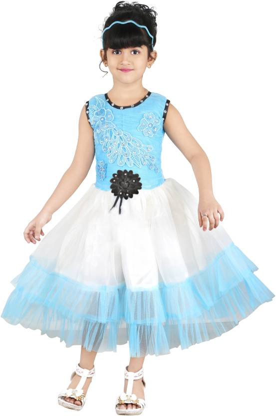 FTC Bazar Girls Midi/Knee Length Party Dress  (Multicolor, Sleeveless)