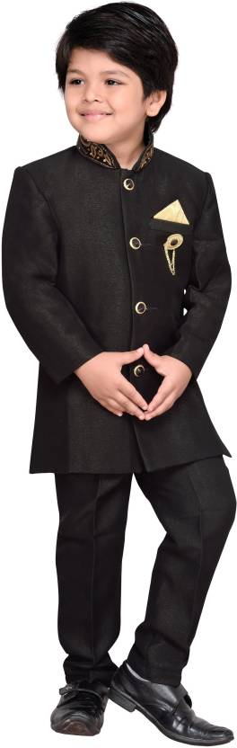 AJ Dezines Boys Sherwani and Churidar Set  (Black Pack of 1)