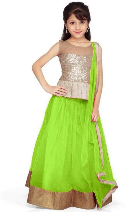 3bd89c33997af1 Asr Creation Girls Lehenga Choli Ethnic Wear Solid Lehenga, Choli and  Dupatta Set (Light Green, Pack of 1)