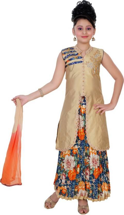 df55b6c93a Saarah Girls Lehenga Choli Ethnic Wear Self Design Lehenga