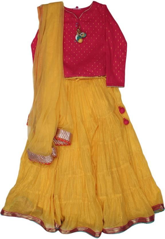 34d3c8c50e BIBA girls Girls Lehenga Choli Ethnic Wear Solid Lehenga, Choli and Dupatta  Set (Yellow, Pack of 1)