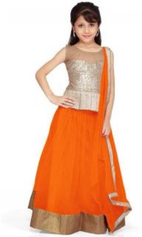 f43512154 New Look Girls Lehenga Choli Ethnic Wear Self Design Ghagra, Choli, Dupatta  Set (Orange, Pack of 1)