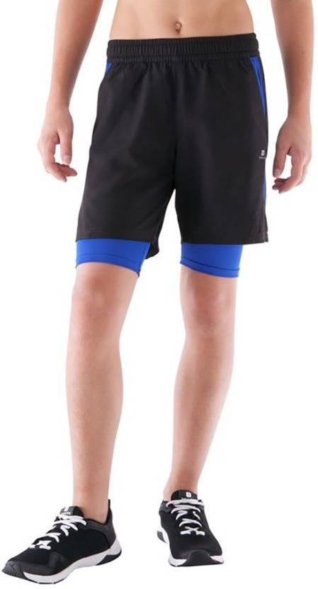 cf4e9f27329100 Domyos by Decathlon Short For Boys Sports Solid Polyester (Black, Pack of 1)