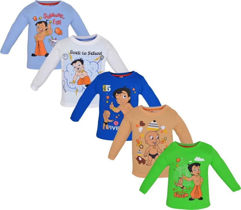 a55b6dea1 Chhota Bheem Boys & Girls Printed Cotton T Shirt (Multicolor, Pack of 5)