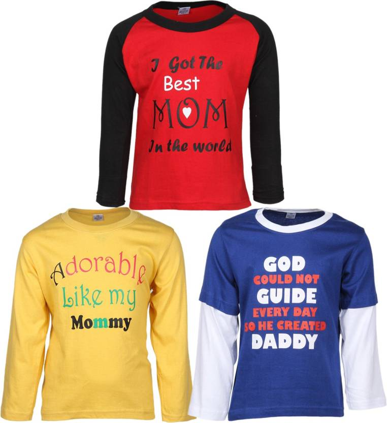 Gkidz Boys Printed Cotton T Shirt  (Multicolor, Pack of 3)