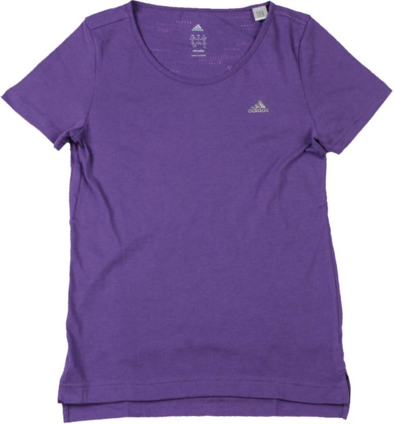 780cc66b7 ADIDAS Girls Solid Cotton Polyester Blend T Shirt (Purple, Pack of 1)