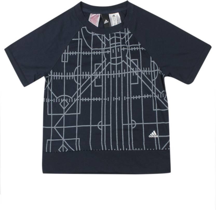 4803c65e ADIDAS Girls Printed Cotton Polyester Blend T Shirt (Dark Blue, Pack of 1)