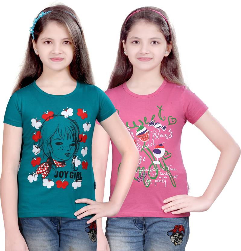 Sini Mini Girls Printed T Shirt  (Multicolor)