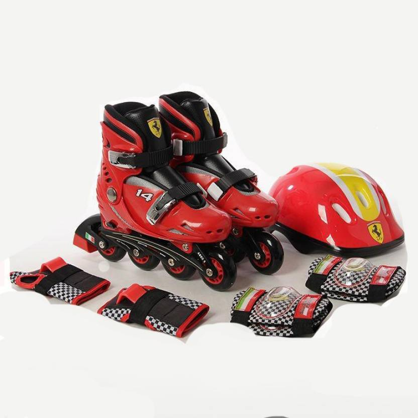 SWAGSPIN Original Ferrari Inline Skate combo Set for kids-Red- 29-32 Skating Kit