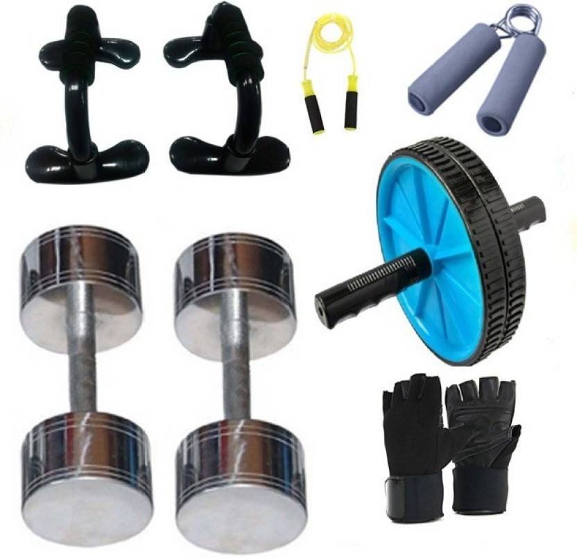 Upto 55% Off On Fitness Products By Flipkart | Krazy Fitness Exercise Equipments With 2 pc. 5 Kg Steel Chrome Dumbells Gym & Fitness Kit @ Rs.2,395