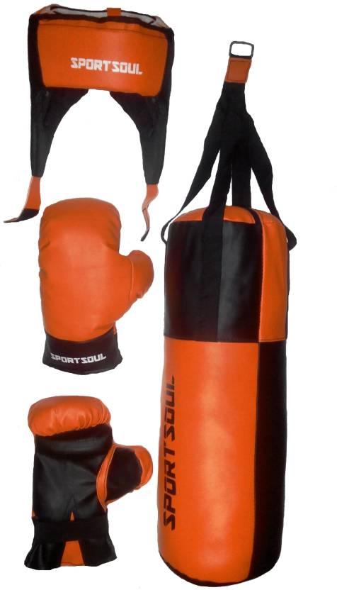 Sportsoul Kids Punching Bag Gloves Headgear Boxing Kit