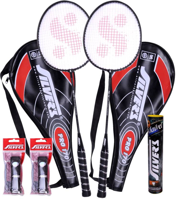 Silvers Pro-170 Badminton Kit  (2 Racquets with Cover, 1 Box Shuttlecock and 2 PVC Grips)