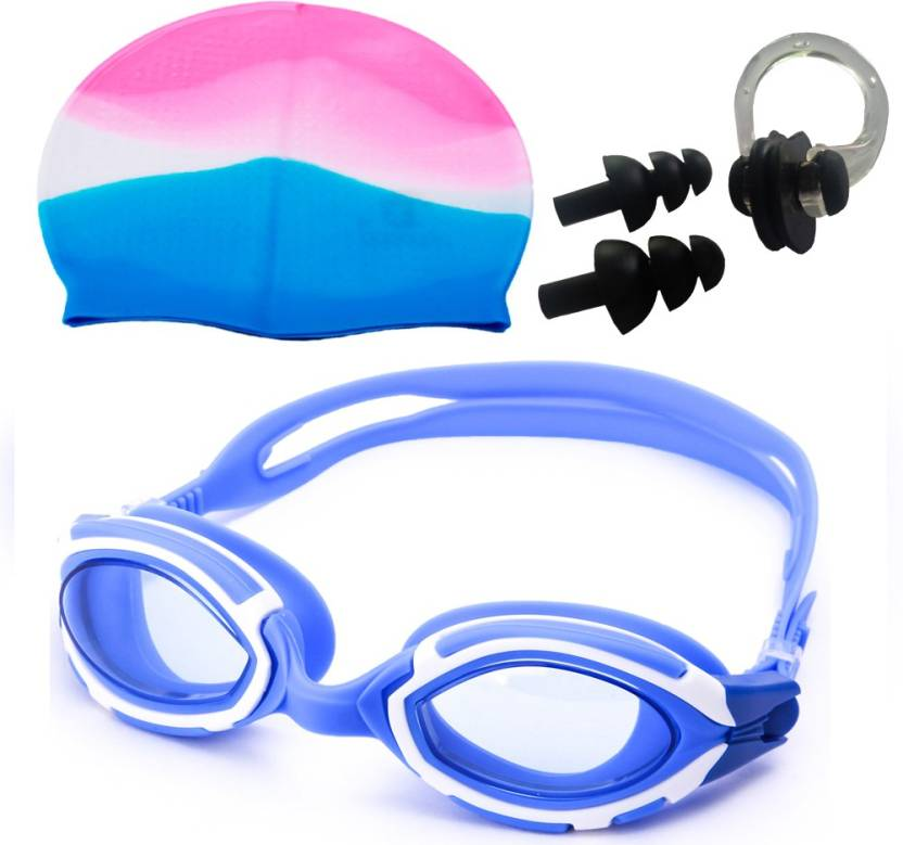 d522fbb3507 NOVICZ Swimming Goggle + Cap + Ear Nose Plug Combo - Swim Glass Head Hair  Protection Swimming Kit - Buy NOVICZ Swimming Goggle + Cap + Ear Nose Plug  Combo ...