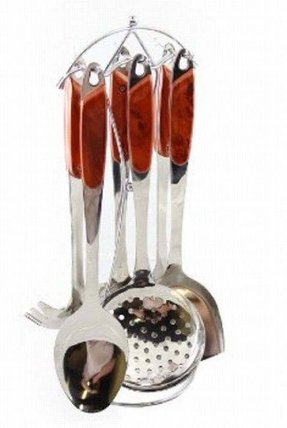 Imported 7 Pcs Stainless Steel Cooking Utensils Set With Red Handle