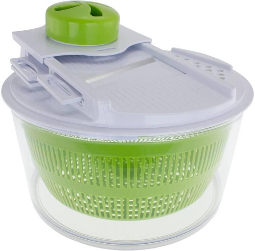 Kawachi Slicer And Storage Lid Salad Spinner Chopper Green Kitchen