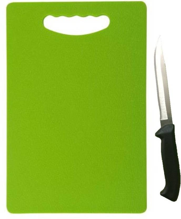 Floraware Green Plastic Chopping Board 1 Knife Free And Silver Kitchen Tool Set