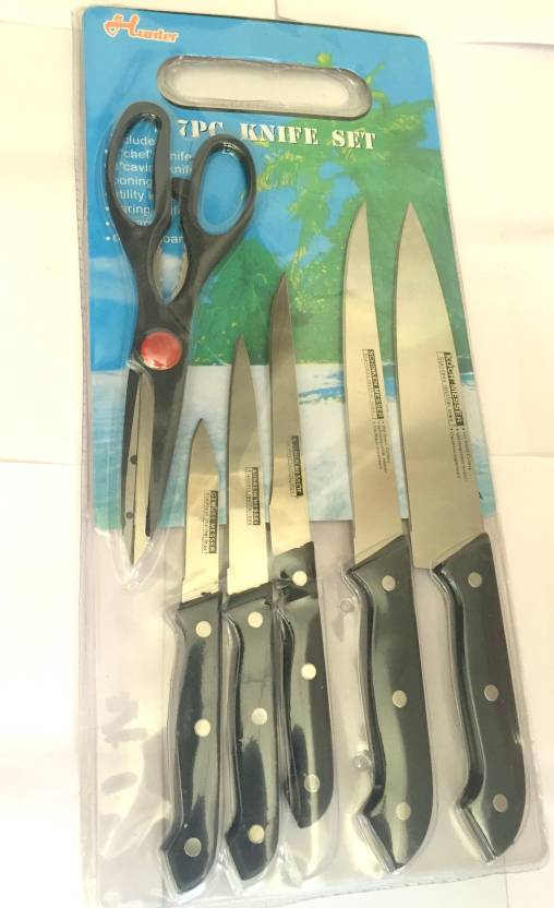 Fitlifeline Hunter 7 Pc Knife Set With Cutting Board White Kitchen