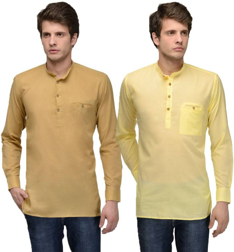 Feed Up Solid Men's Straight Kurta