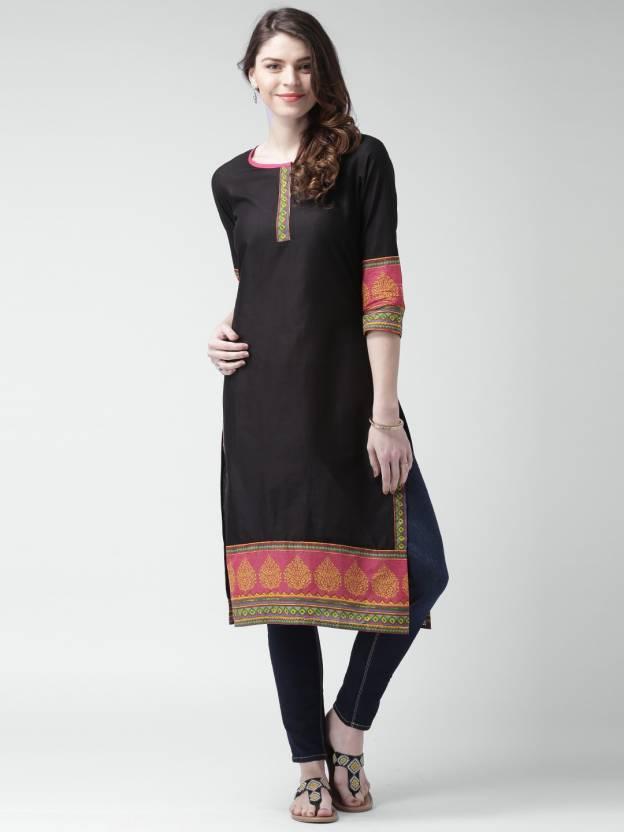 45c78db4d Moda Rapido Women s Printed A-line Kurta - Buy Black Moda Rapido ...