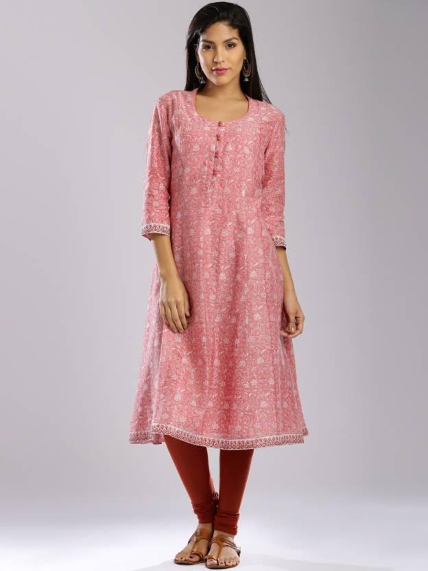 e42efa28c4b Fabindia Women s Printed A-line Kurta - Buy Pink Fabindia Women s ...