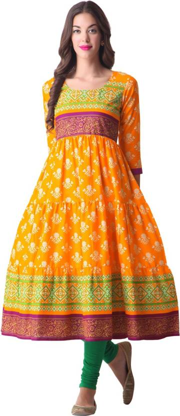 dc8be75d4b Gerua Women's Printed Anarkali Kurta - Buy Yellow Gerua Women's ...