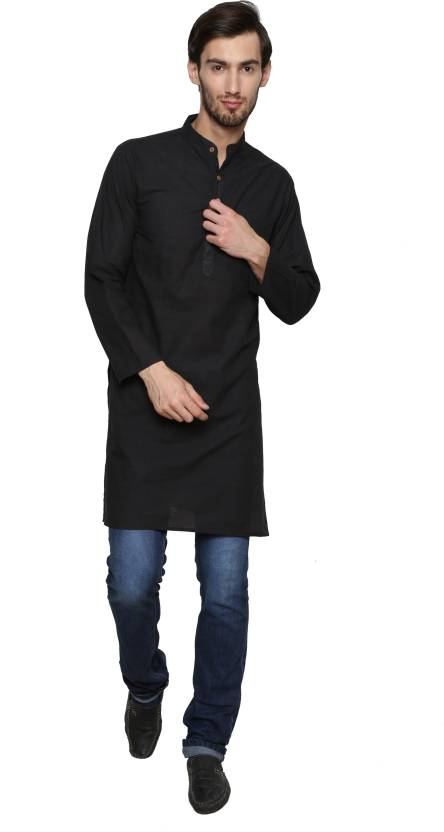 9a9e580c09 Enchanted Drapes Men Solid Straight Kurta - Buy Black Enchanted ...